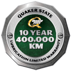 Quaker State 10-Year 400,000-KM Lubrication Limited Warranty